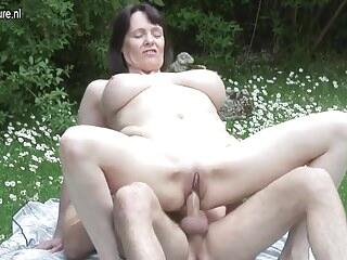 Big breasted British MOM fucking not her son